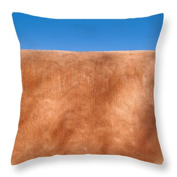 Adobe Wall Santa Fe Throw Pillow by Steve Gadomski