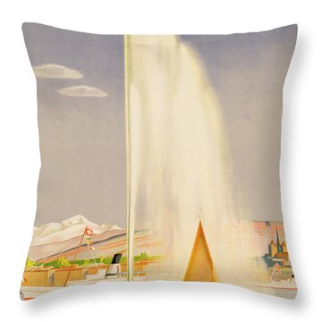 Advertisement For Travel To Geneva Throw Pillow by Fehr