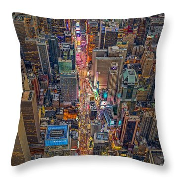 Aerial Times Square New York City  Throw Pillow by Susan Candelario