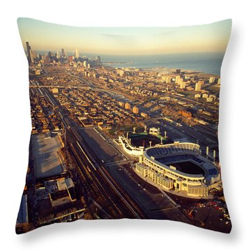 Aerial View Of A City, Old Comiskey Throw Pillow by Panoramic Images