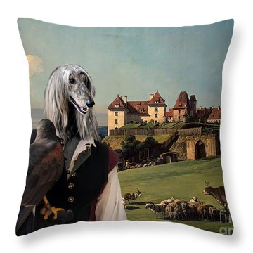 Afghan Hound-falconer And Castle Canvas Fine Art Print Throw Pillow by Sandra Sij