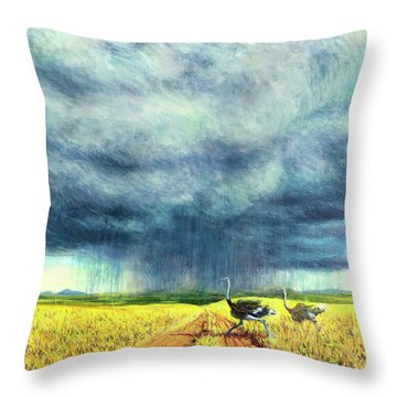 African Storm Throw Pillow by Tilly Willis