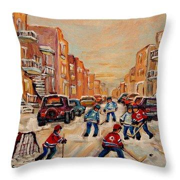 After School Hockey Game Throw Pillow by Carole Spandau
