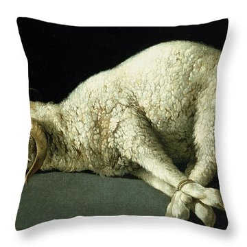 Agnus Dei Throw Pillow by Francisco de Zurbaran