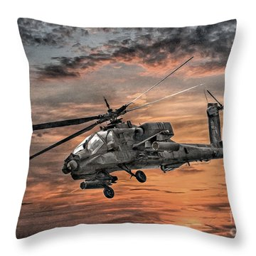 Ah-64 Apache Attack Helicopter Throw Pillow by Randy Steele
