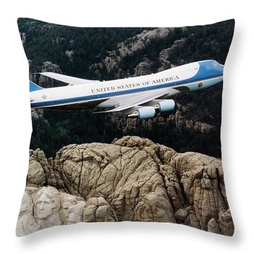 Air Force One Flying Over Mount Rushmore Throw Pillow by War Is Hell Store