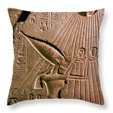 Akhenaton With Sun God Throw Pillow by Science Source