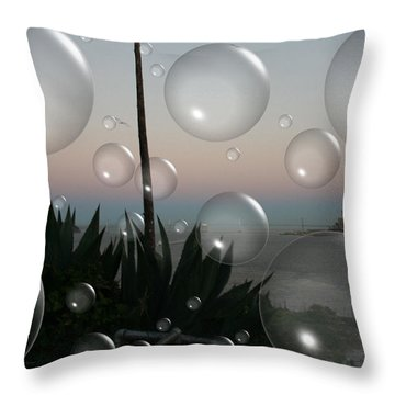 Alca Bubbles Throw Pillow by Holly Ethan