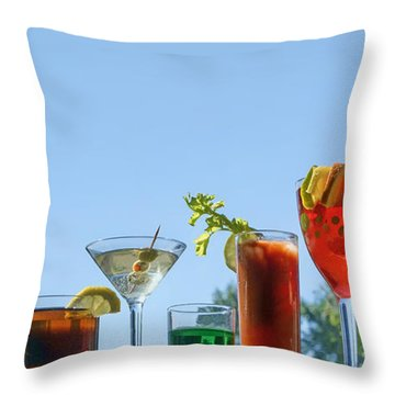 Alcoholic Beverages - Outdoor Bar Throw Pillow by Nikolyn McDonald