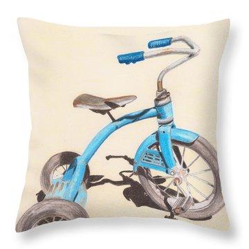 Alder's Bike Throw Pillow by Glenda Zuckerman