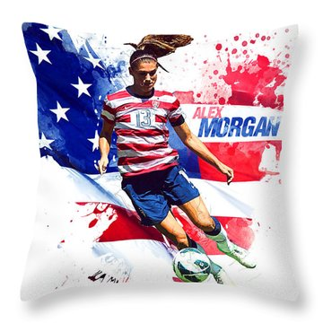 Alex Morgan Throw Pillow by Semih Yurdabak