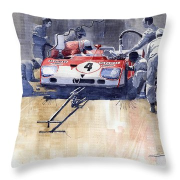 Alfa Romeo T33 Tt3 1972 Targa Florio  Throw Pillow by Yuriy  Shevchuk