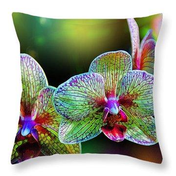 Alien Orchids Throw Pillow by Bill Tiepelman