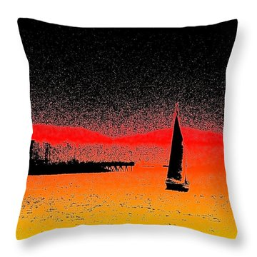 Alki Sail  Throw Pillow by Tim Allen