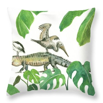 Alligator And Pelicans Throw Pillow by Juan Bosco