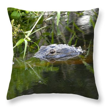 Alligator Hunting Throw Pillow by David Lee Thompson