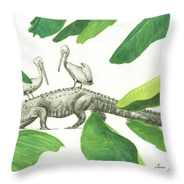 Alligator With Pelicans Throw Pillow by Juan Bosco