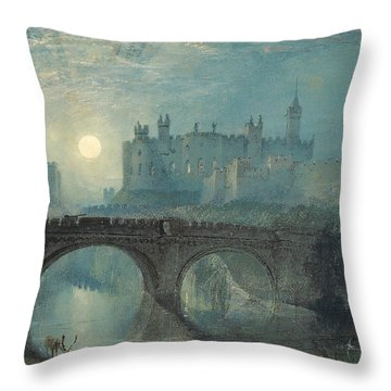 Alnwick Castle Throw Pillow by Joseph Mallord William Turner