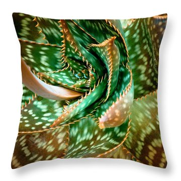Throw Pillow featuring the photograph Aloe Saponaria, Soap Aloe Maculata by Frank Tschakert