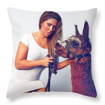 Alpaca Mr. Tex And Breanna Throw Pillow by TC Morgan