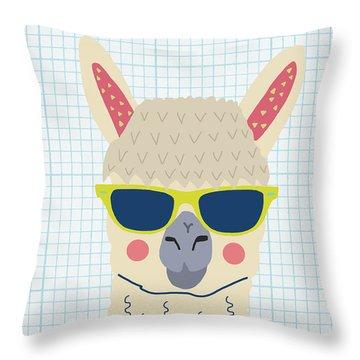 Alpaca Throw Pillow by Nicole Wilson