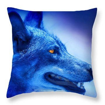 Alpha Wolf Throw Pillow by Mal Bray