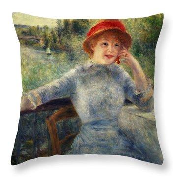 Alphonsine Fournaise Throw Pillow by Pierre Auguste Renoir