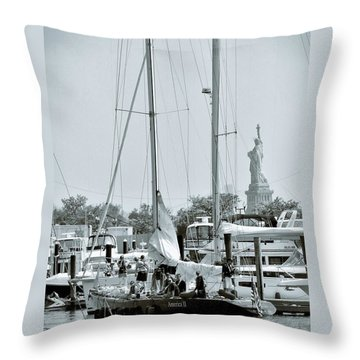 America II And The Statue Of Liberty Throw Pillow by Sandy Taylor