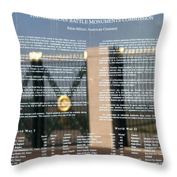 Throw Pillow featuring the photograph American Battle Monuments Commission by Travel Pics