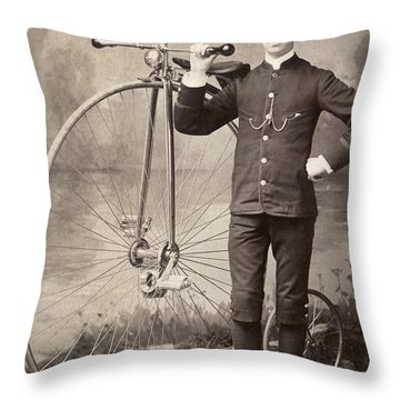 American Bicyclist, 1880s Throw Pillow by Granger