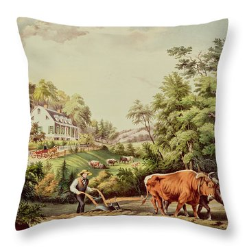 American Farm Scenes Throw Pillow by Currier and Ives