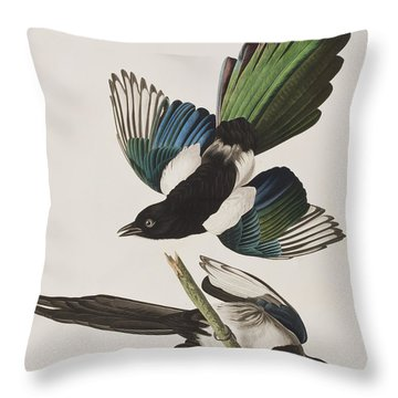 American Magpie Throw Pillow by John James Audubon