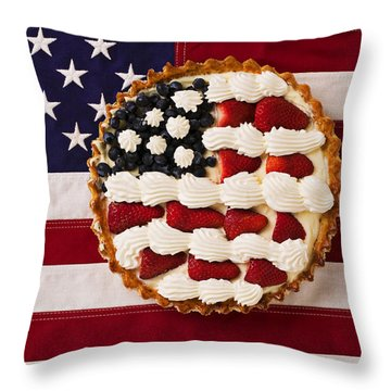 American Pie On American Flag  Throw Pillow by Garry Gay