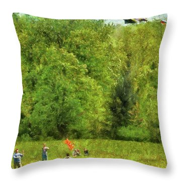 Americana - People - Let's Go Fly A Kite Throw Pillow by Mike Savad