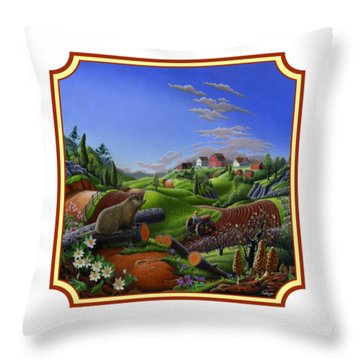 Americana Decor - Springtime On The Farm Country Life Landscape - Square Format Throw Pillow by Walt Curlee
