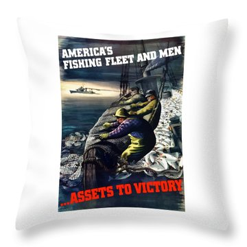 America's Fishing Fleet And Men  Throw Pillow by War Is Hell Store