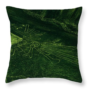 An Aerial View Of The Nazca Lines. They Throw Pillow by Bates Littlehales