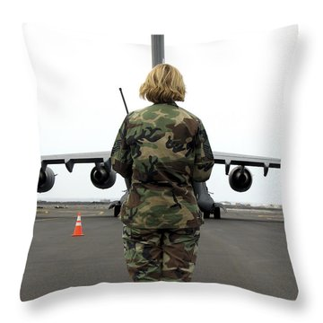 An Airfield Manager Greets An Arriving Throw Pillow by Stocktrek Images