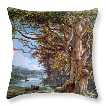An Ancient Beech Tree Throw Pillow by Paul Sandby