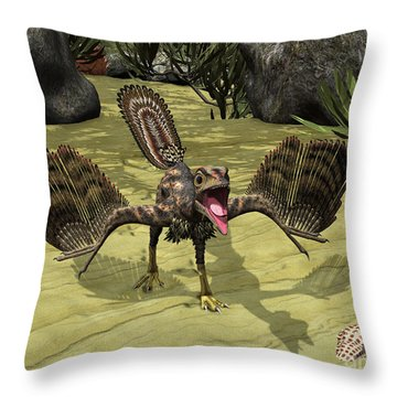 An Archaeopteryx Depicted Throw Pillow by Walter Myers