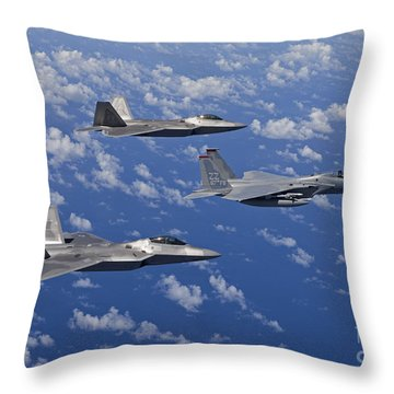 An F-15 Eagle And Two F-22 Raptors Fly Throw Pillow by HIGH-G Productions