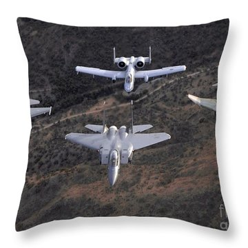 An F-16 Fighting Falcon, F-15 Eagle Throw Pillow by Stocktrek Images