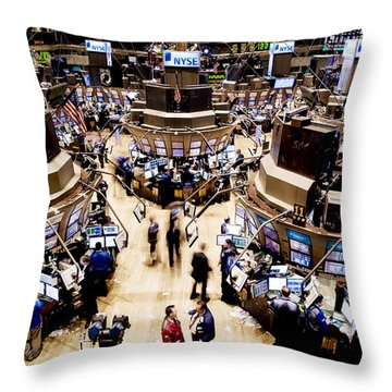 An High Angle View Of The New York Throw Pillow by Justin Guariglia