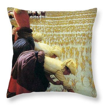 An Italian Rice Field Throw Pillow by Angelo Morbelli
