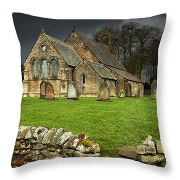 An Old Church Under A Dark Sky Throw Pillow by John Short
