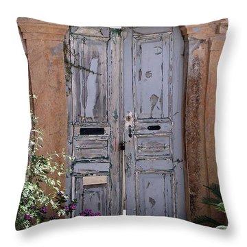 Ancient Garden Doors In Greece Throw Pillow by Sabrina L Ryan