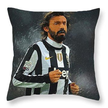 Andrea Pirlo Throw Pillow by Semih Yurdabak