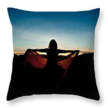 Angel At Sunset Throw Pillow by Scott Sawyer