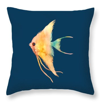 Angelfish II - Solid Background Throw Pillow by Hailey E Herrera