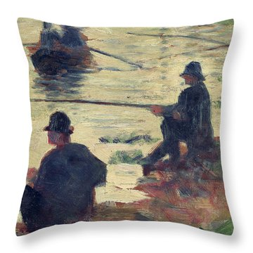 Anglers Throw Pillow by Georges Pierre Seurat